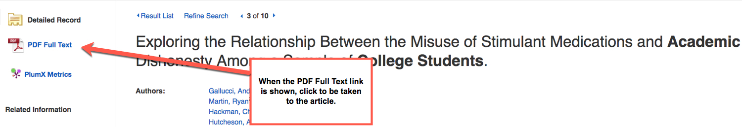 Image shows article entry with PDF Full text link, arrow points to link on left hand side of screen