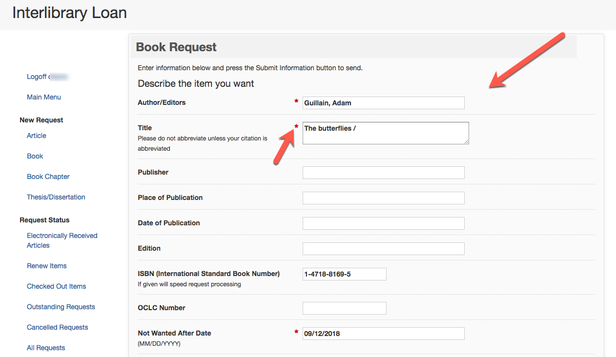 Interlibrary Loan Request Page