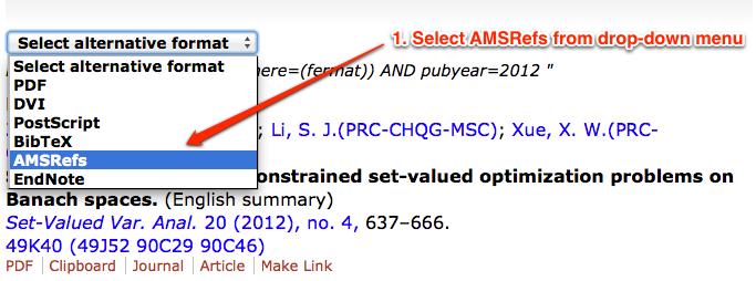 Image of AMSRefs drop down menu in MathSciNet