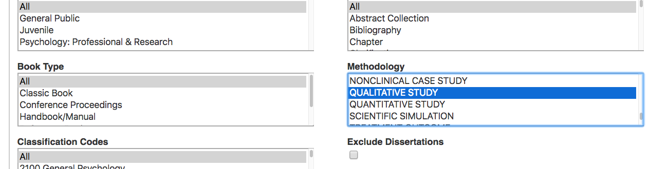 Image of the Methodology filter in the PsycINFO database.