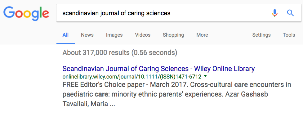Google search of a journal title.