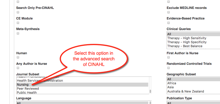 Image of advanced search options in CINAHL. Narrow in the