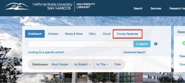 "Image of the library website homepage with the ""course reserves"" link highlighted with a red box."