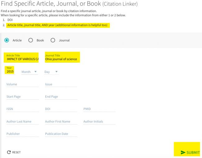 Image shows citation linker form with known article title, journal name, and date of publication filled out