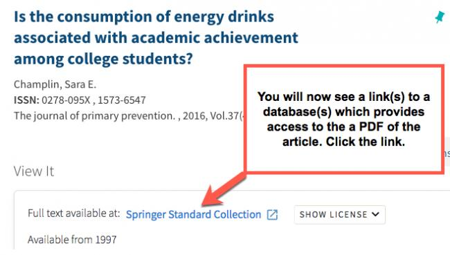 EBSCOhost result after clicking on the Get it! at CSUSM, shows link to a database that offers