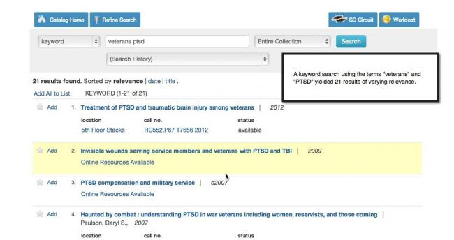 This image shows an example of a keyword search. 21 results are found with the following search: (veterans ptsd).
