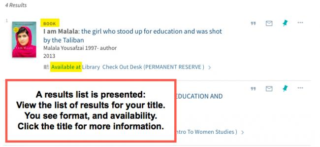Image shows a result for the search on book title I am Malala